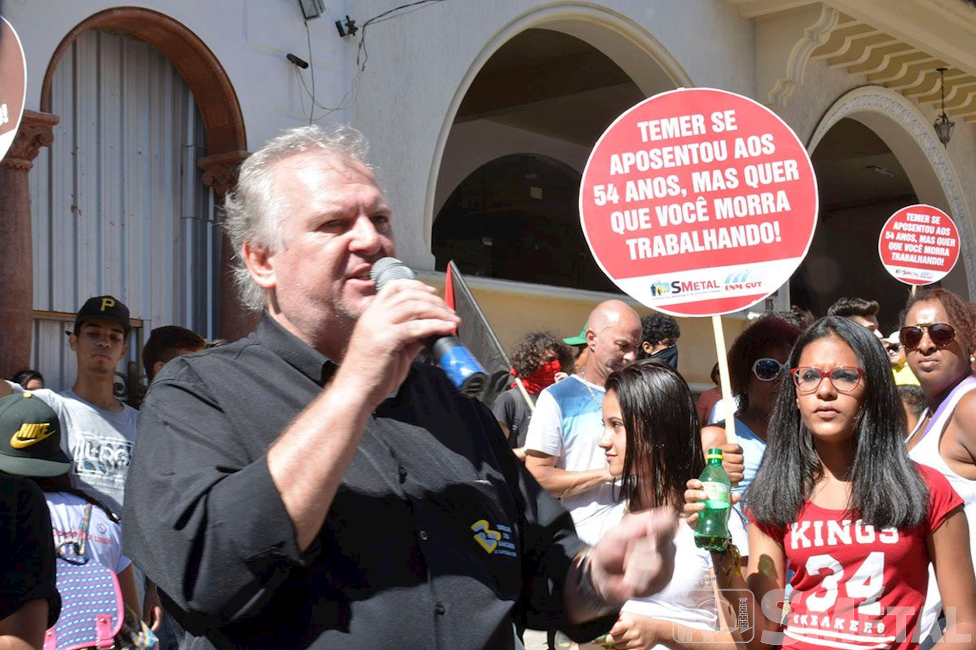 Protesto em Sorocaba contra a terceirização e as reformas da Previdência e Trabalhista, previdência, aposentadoria, sorocaba, , Foguinho/Imprensa SMetal
