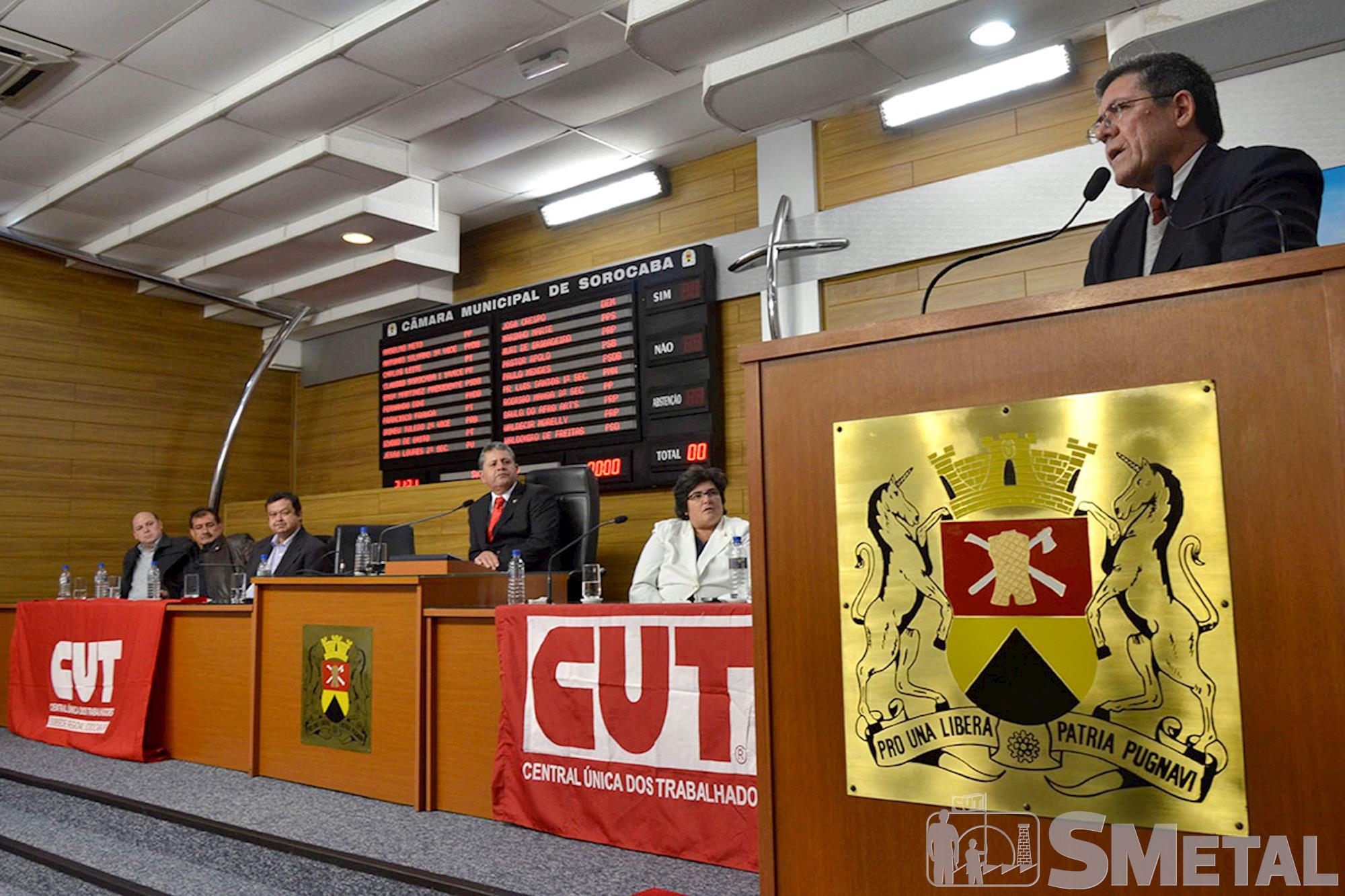 Em seu discurso,  o deputado Hamilton lembrou que da atuação da CUT em defesa da democracia, Sessão Solene na Câmara de Sorocaba comemora 30 anos de CUT