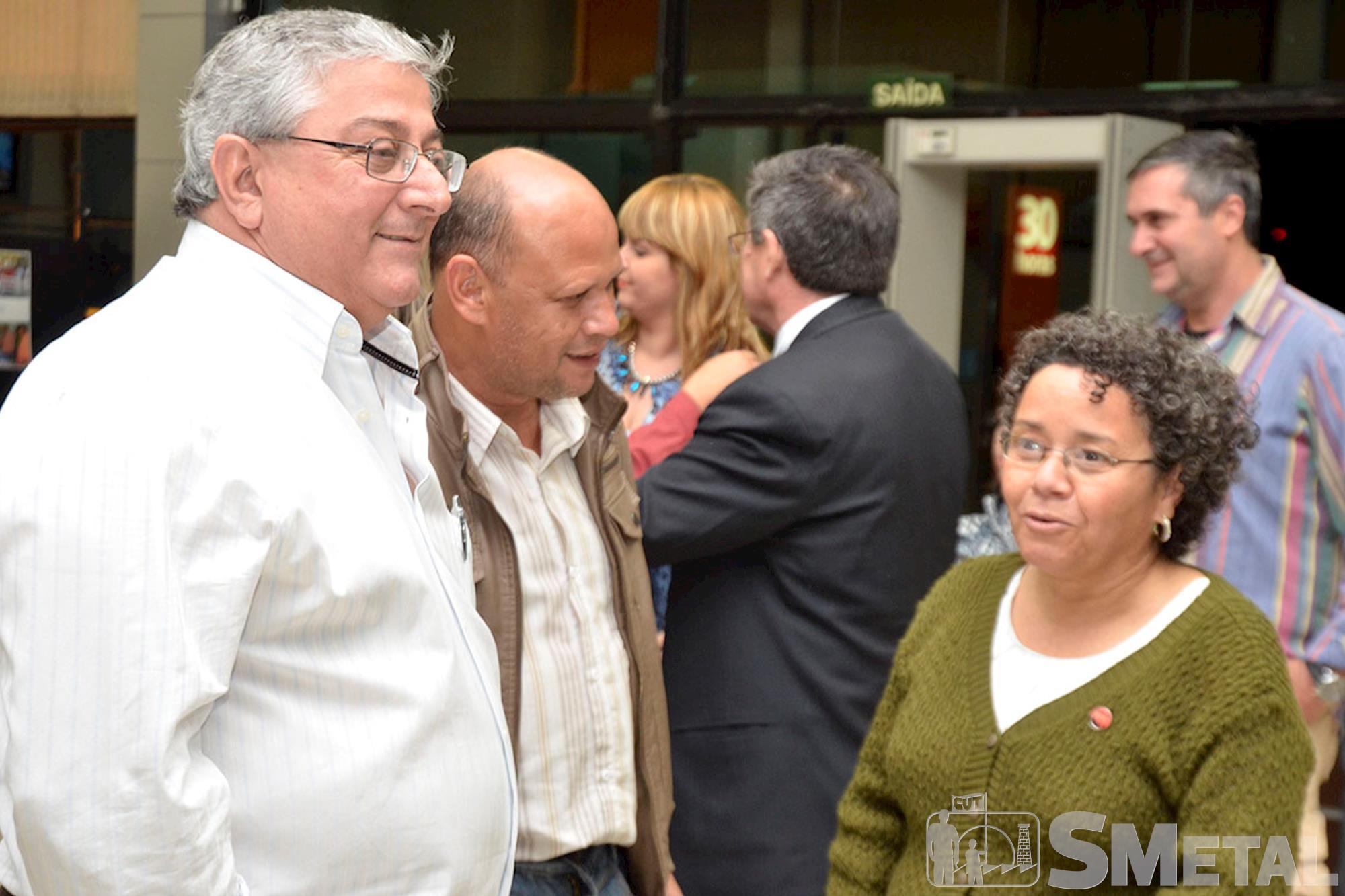 Ex-presidente do Sindicato dos Metalúrgicos,  Carlos Roberto de Gáspari; o atual presidente,  Ademilson Terto da Silva,  e Lúcia Gonçalves,  da subsede da, Sessão Solene na Câmara de Sorocaba comemora 30 anos de CUT