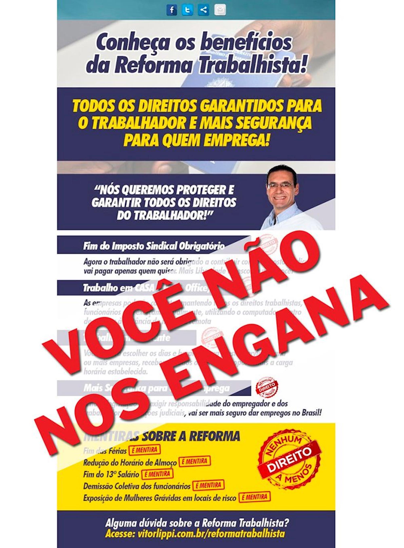 lippi, PSDB, reforma trabalhista, não nos engana, nenhum direito a menos,