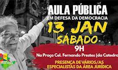 Sorocaba terá aula pública pela democracia neste sábado, 13