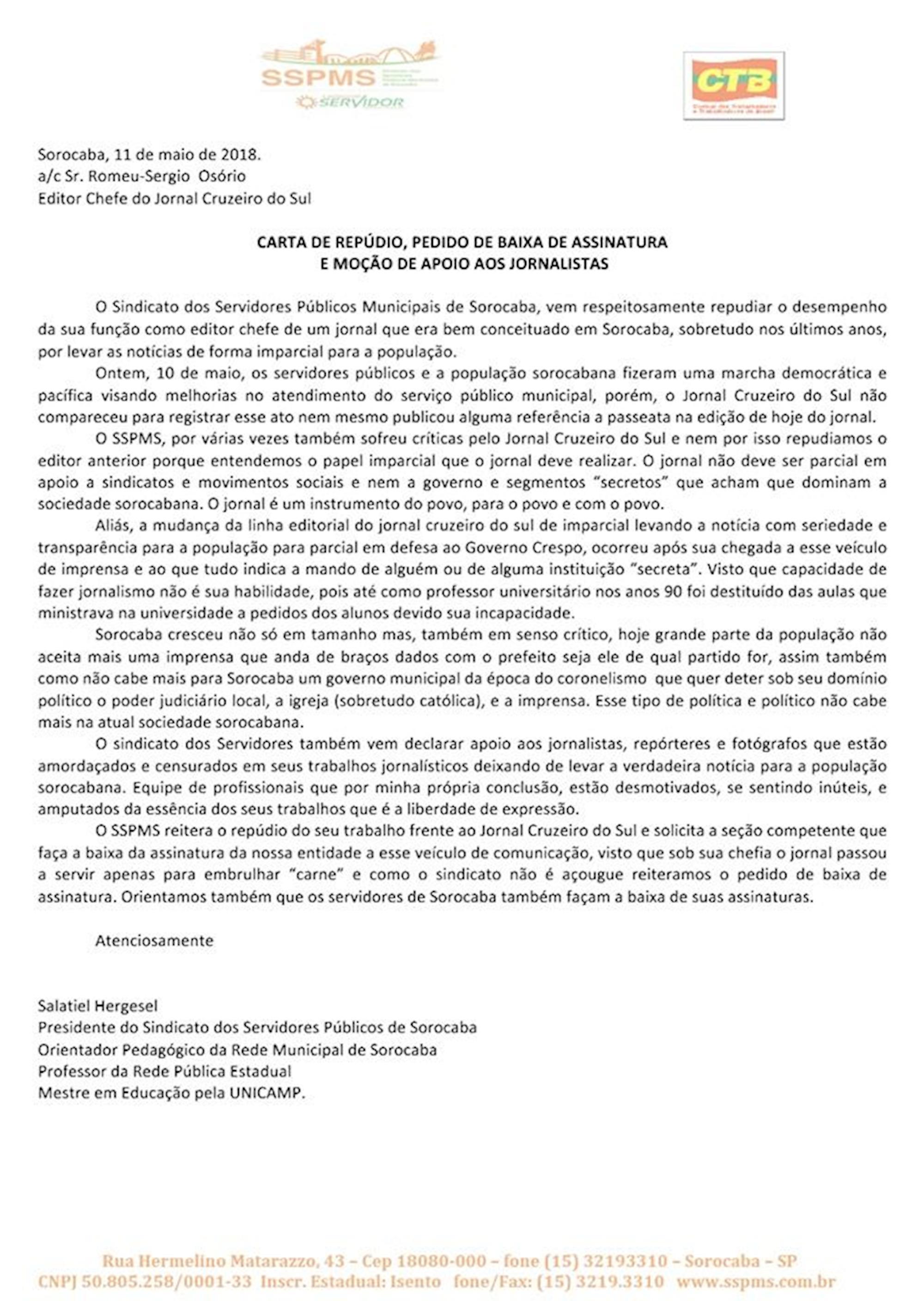 carta, ssspms, Divulgação