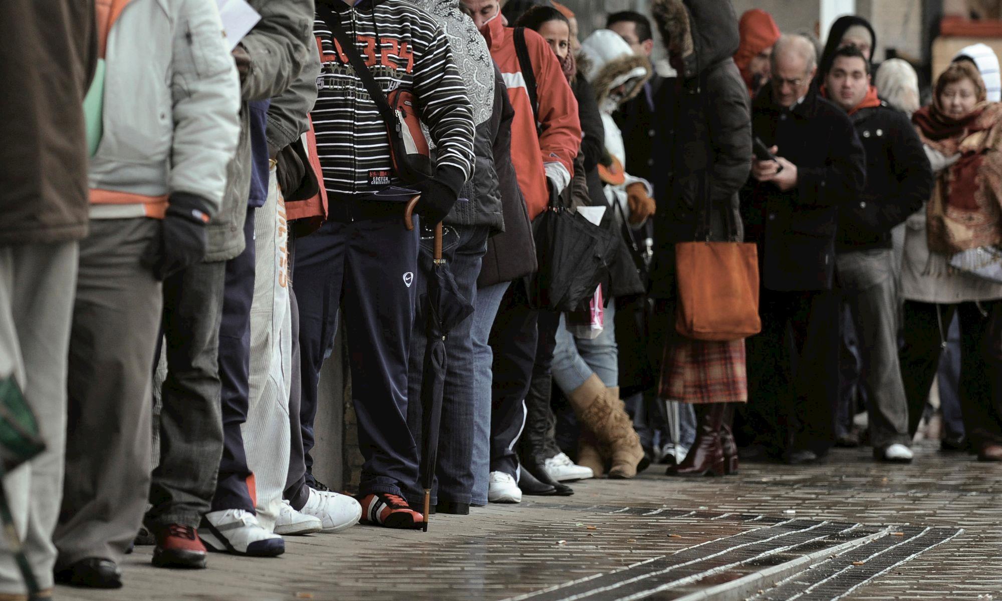 desemprego, fila,, BI