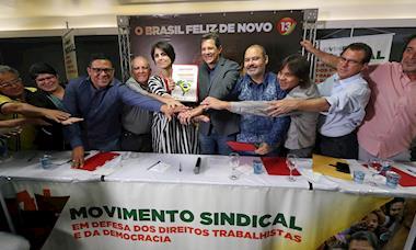 Centrais sindicais entregam manifesto de apoio a Fernando Haddad