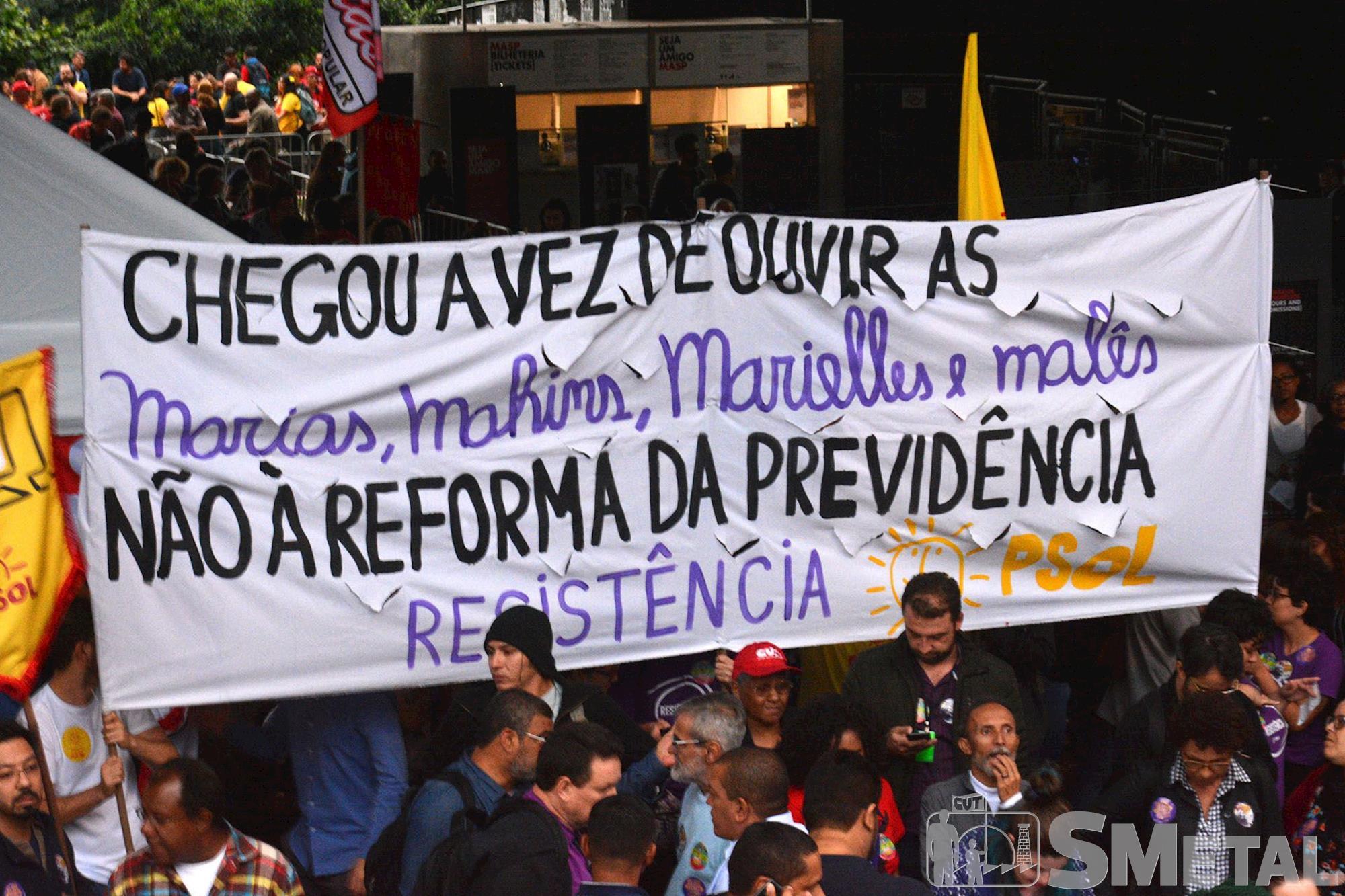 Dia Nacional de Luta em Defesa da Previdência na Avenida Paulista,  em São Paulo, previdência,  reforma,  protesto,  aposentadoria,  paulista,  , Foguinho/Imprensa SMetal, Confira fotos do Dia Nacional de Luta em Defesa da Previdência em SP