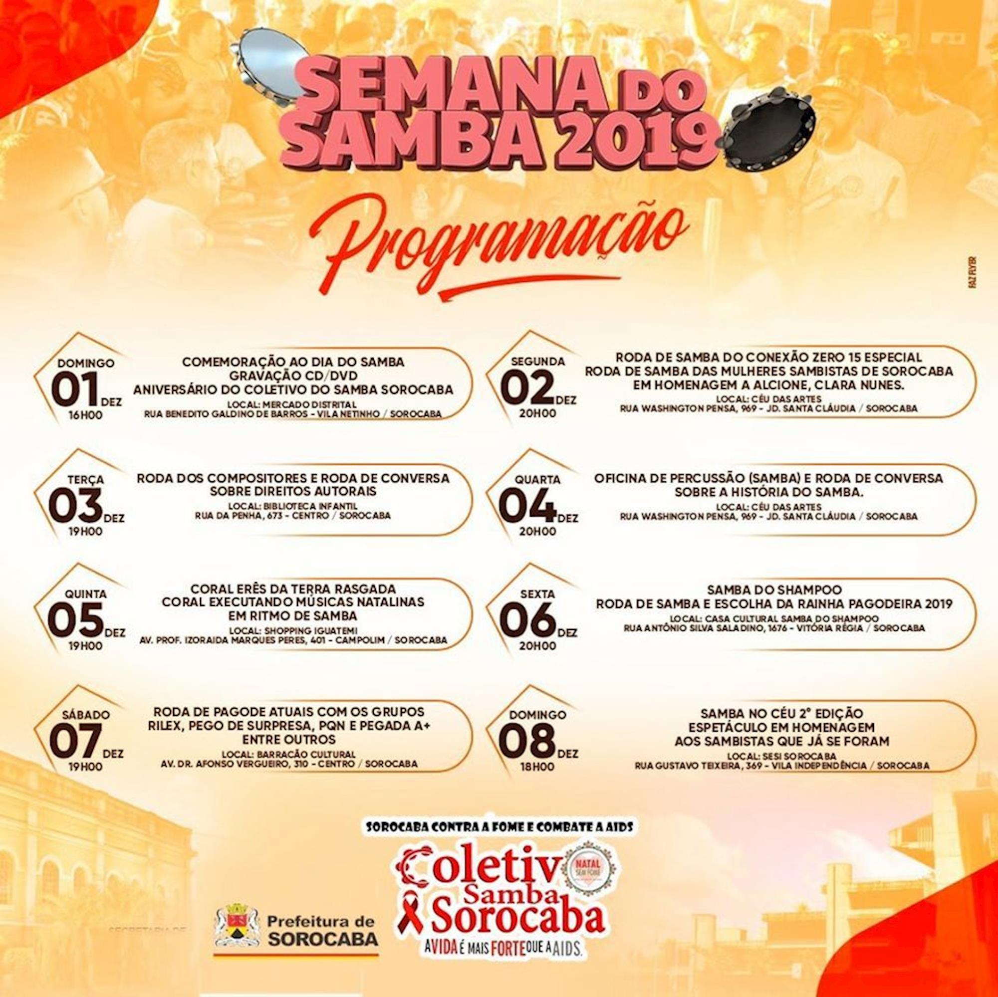 semana, samba, sorocaba, programação, natal, fome, Divulgação