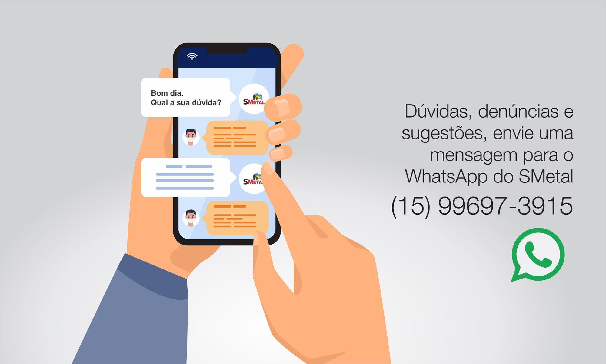 whatsapp, atendimento, sindicato, smetal, sorocaba, jurídico,, Foguinho/Arquivo Imprensa SMetal