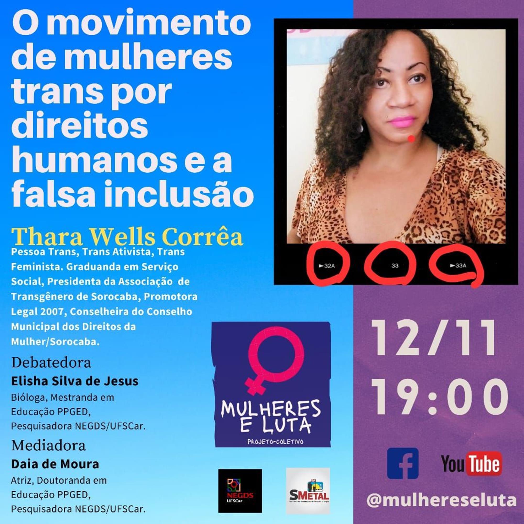 thara, mulher, weels, sorocaba, trans, Divulgação Mulheres e Luta